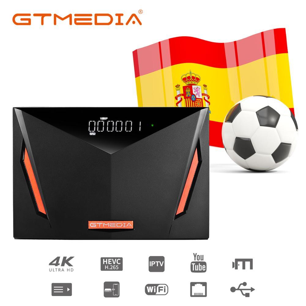 GTmedia-جهاز استقبال القنوات الفضائية V8 UHD ، كابل H.265 4K Ultra HD ، DVB S2 T2 ، واي فاي مدمج ، متوافق مع أوروبا ، إسبانيا ، فتحة بطاقة CA