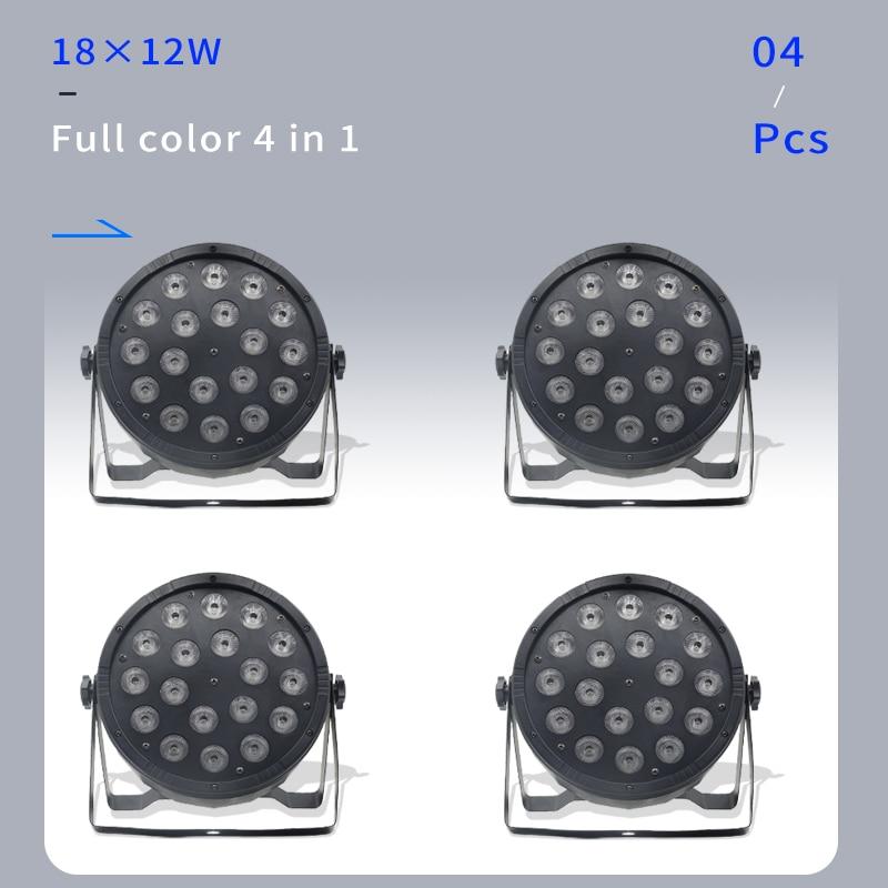 ضوء ديسكو احترافي 18*12 واط 4 في 1 LED DMX512 ، إضاءة ملونة للمسرح والدي جي والزفاف 4 قطعة