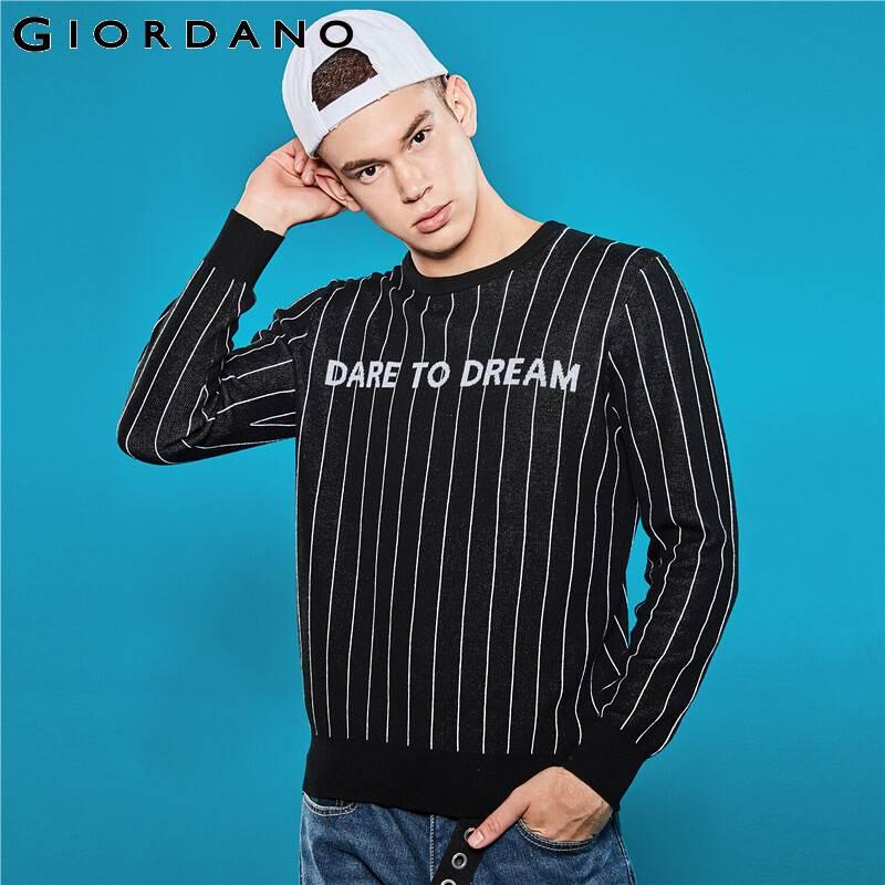 Giordano jerseys Para Hombre letras positivas rayas manga larga pulóver Hombre 12 agujas de punto cuello redondo Chompas Para Hombre 01059856