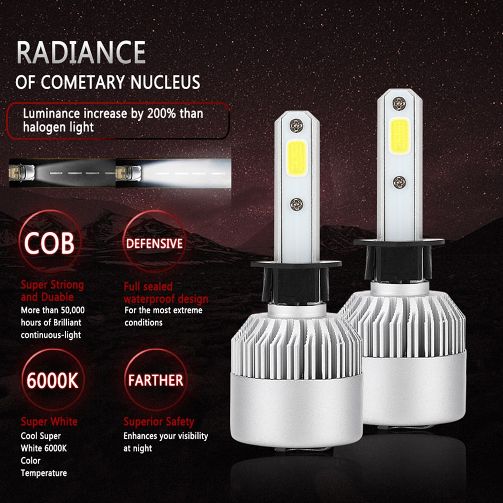 Car LED Headlight COB Hi/Lo Beam Light Bulb Forward Light 36W 6000K LED Lightbulb Automotive Accessory