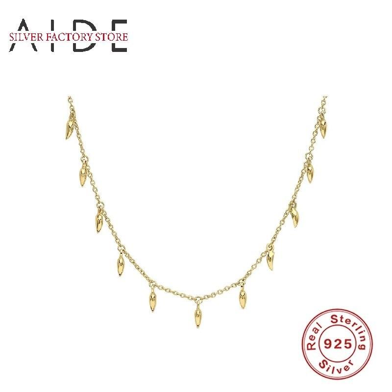AIDE минимализм 925 Серебряное ожерелье для женщин INS капли воды нитка ключица цепочка ожерелье колье ювелирное изделие ожерелье для официальн...