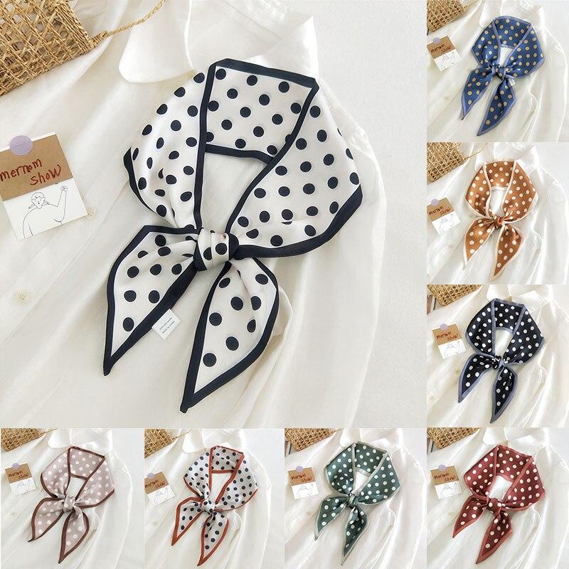 8 Colors Female Luxury Polka Dot Double Silk Scarves Spain Neck Scarf Foulard Head Band Shawls And W