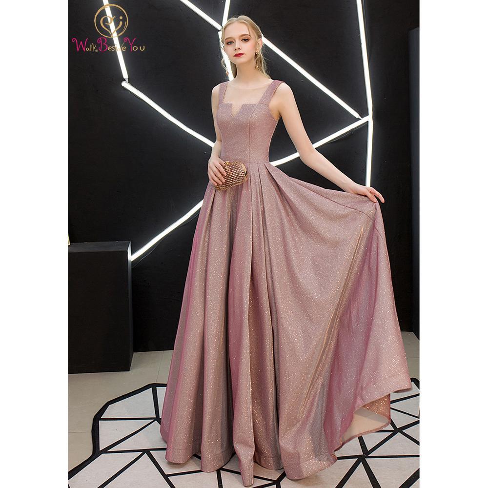 Pink Bling Prom Dress 2020 Long Elegant Sheer Neck Beaded vestidos de formatura vestido fiesta largo noche Evening Party Gown