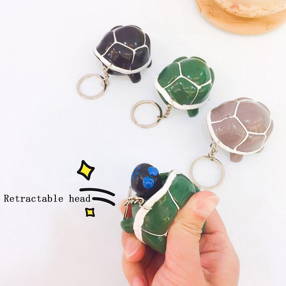 Squeeze Stress Kleine Schildkröte Versenkbaren Kopf Schlüssel Kette Schlüssel Ring Schul Anhänger keyring Decor Für Kinder Spielzeug Geburtstag Geschenk