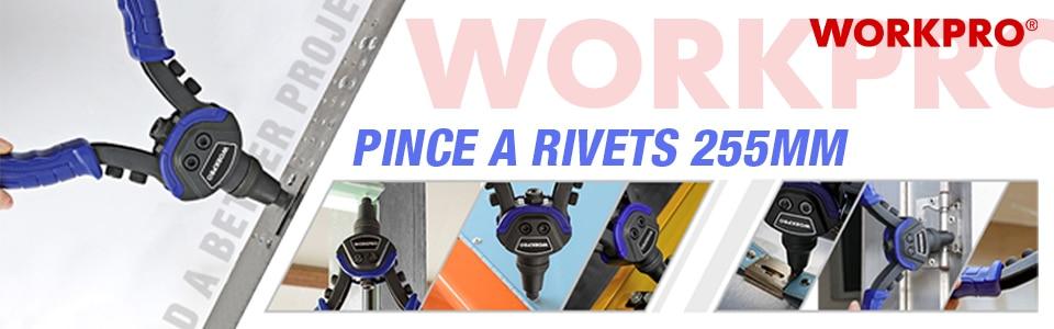 "WORKPRO 10"" Riveter Gun with Rivet Nut Blind Rivet Guns Home DIY"