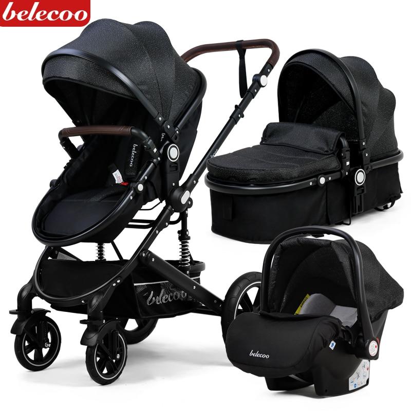 Baby Stroller Lightweight Newborn Pram 3 in 1 Strollers Anti-shock All terrain Pushchair Reversible Bassinet Car Seat Cup Holder