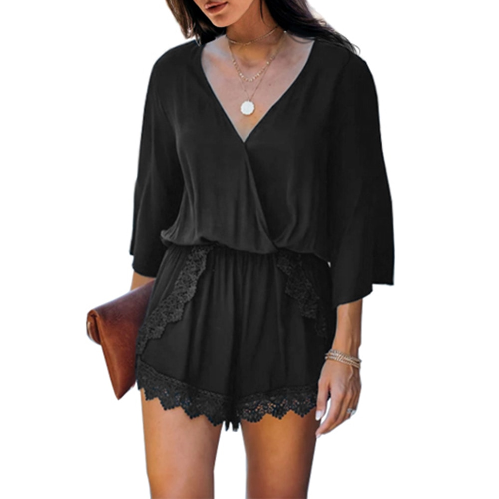 V-neck Sexy Holiday Three-quarter Sleeves Lace Playsuit Rompers Womens Beach Jumpsuit Vocation and Beach Overalls for Women D30