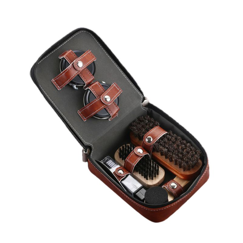 Professional leather shoes care tools 9 pieces, horse hair brush, black shoe polish, sponge brush, shoe polisher, shoehorn,