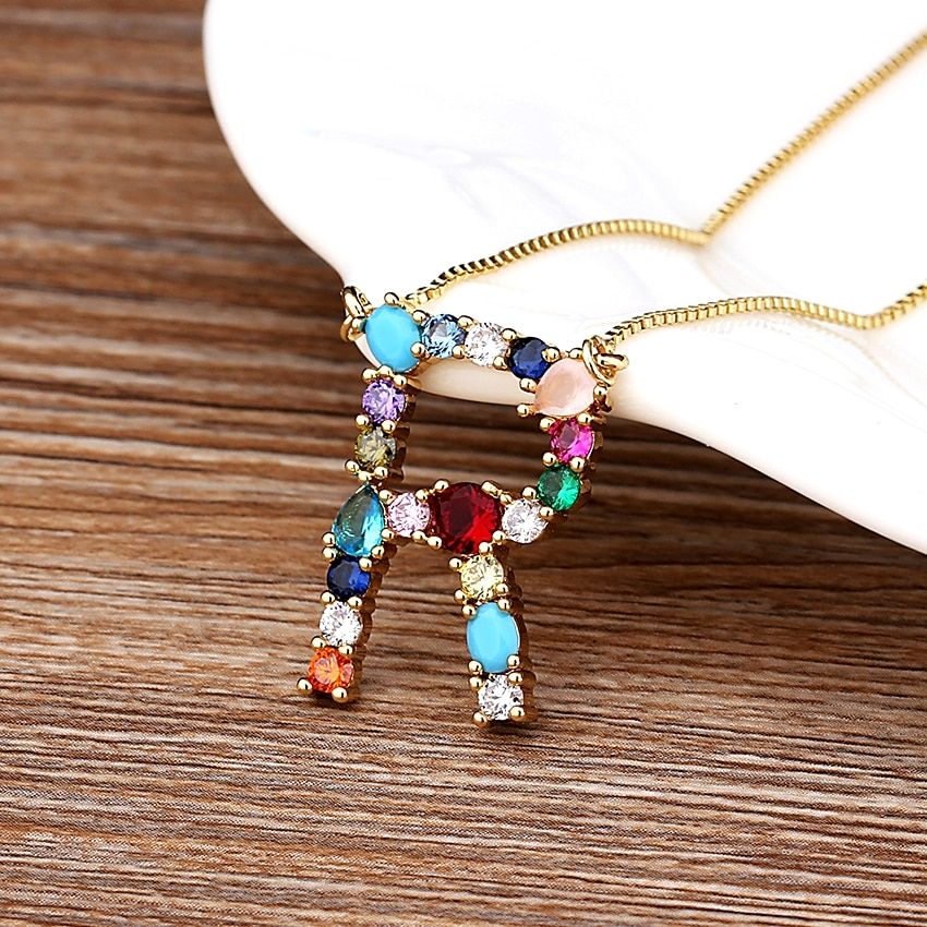 26pcs/Lot Hot Sale Personal Name Letter Necklace Rainbow Copper CZ Initials Alphabet Women Girls Gorgeous Family Jewelry Gift