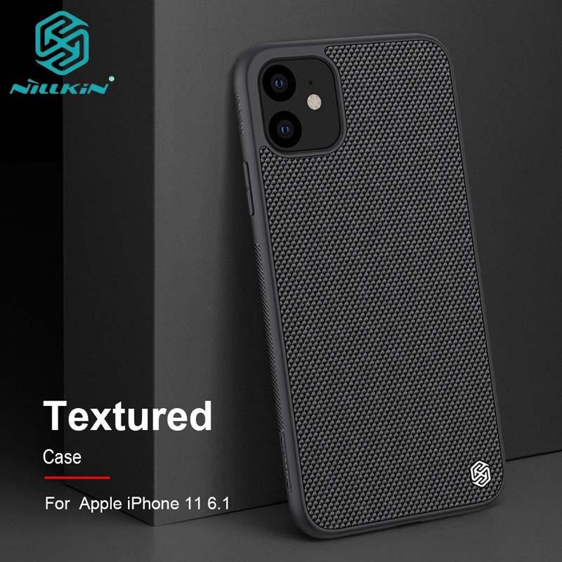 Para iPhone 11 6,1 funda de teléfono NILLKIN textura fibra de Nylon Panel duro + TPU marco contraportada funda para iPhone 11 Pro Max