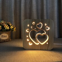 3D en bois amour forme ombre lampe à LED bois USB bureau veilleuse christianisme Crucifix artisanat lampes de Table pour cadeau décoration de la maison