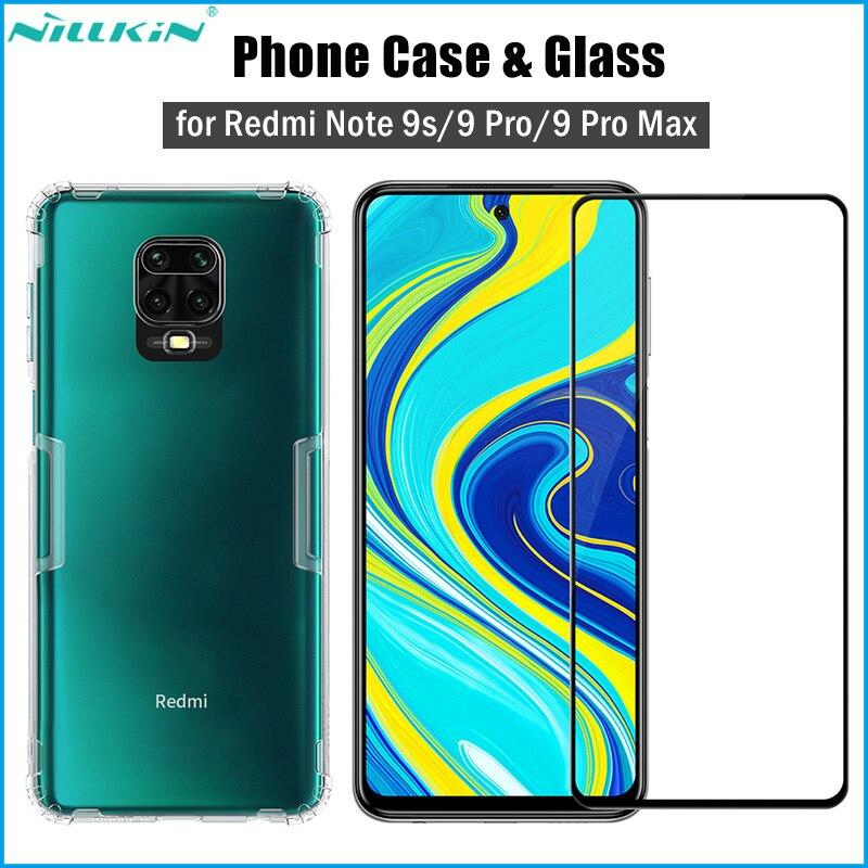 Nillkin 2-em-1 caso tpu macio claro + vidro temperado para xiaomi redmi nota 9 s/9 pro/9 pro cobertura máxima protetor de tela de cobertura completa
