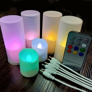6PC Electric Candle RGB Flicker LED Tea Light USB Rechargeable Night Lamp Remote Control Event Wedding Lighting Decores 6H Timer