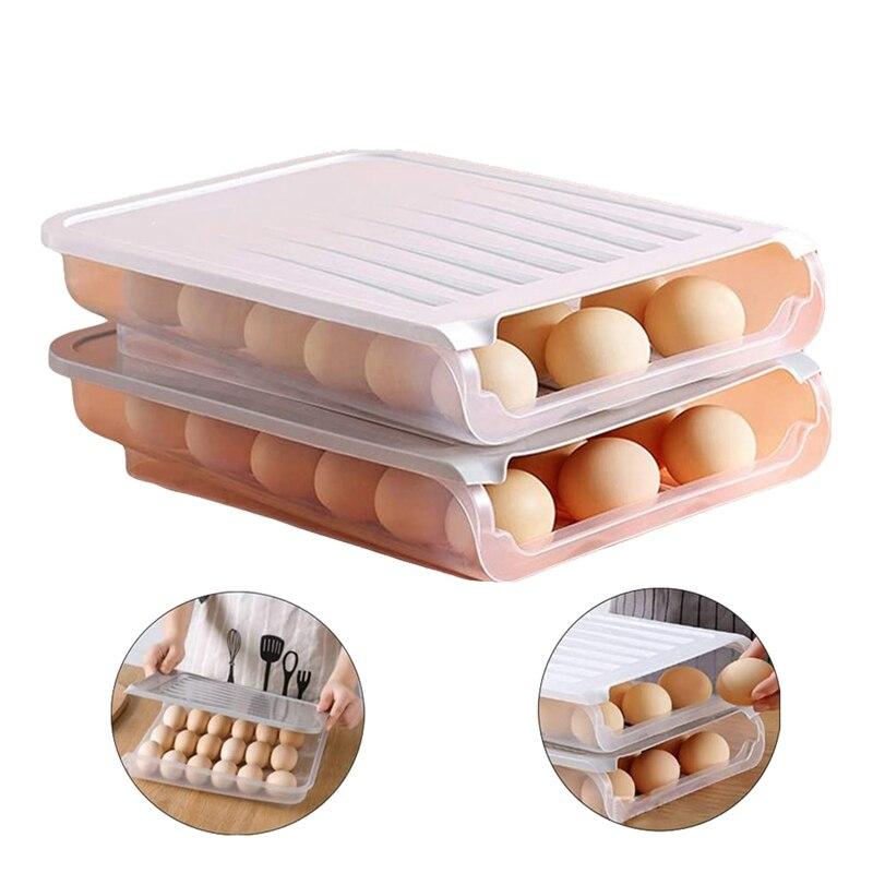 2 Pack Auto Scrolling Egg Storage Holder Eggs Storage Rack Refrigerate Food Savers Eggs Plastic Space Saver