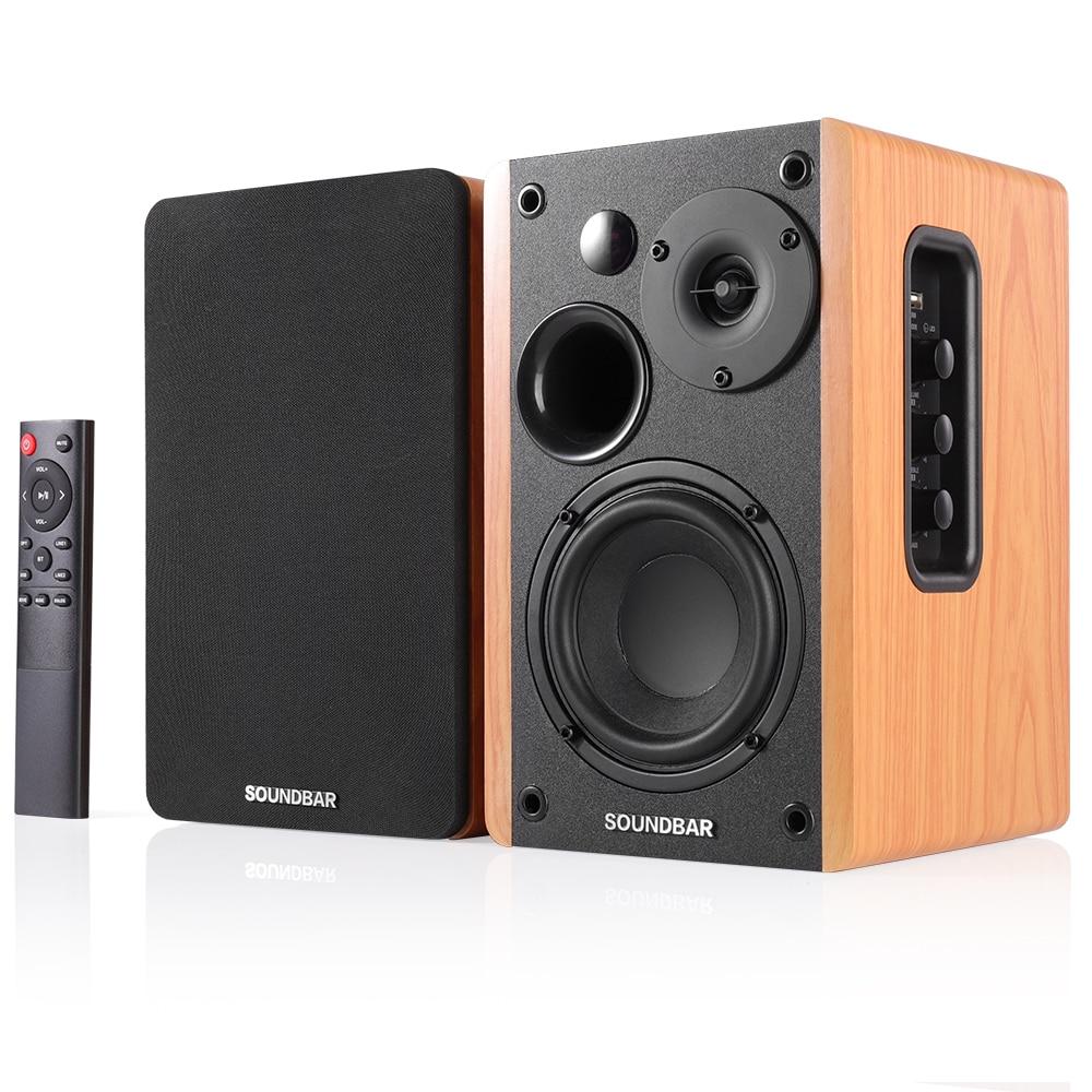80W 2.0 HiFi Speaker Bookshelf Bluetooth Speaker Sound System Wood Music Speakers For TV Computer So