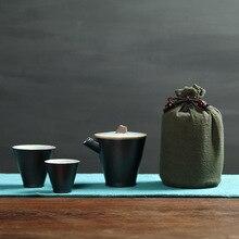 Poterie grossière un Pot et deux tasses voyage service à thé Express tasse embrayage Pot tasse à thé voyage costume sac emballage Tcup Kung Fu service à thé
