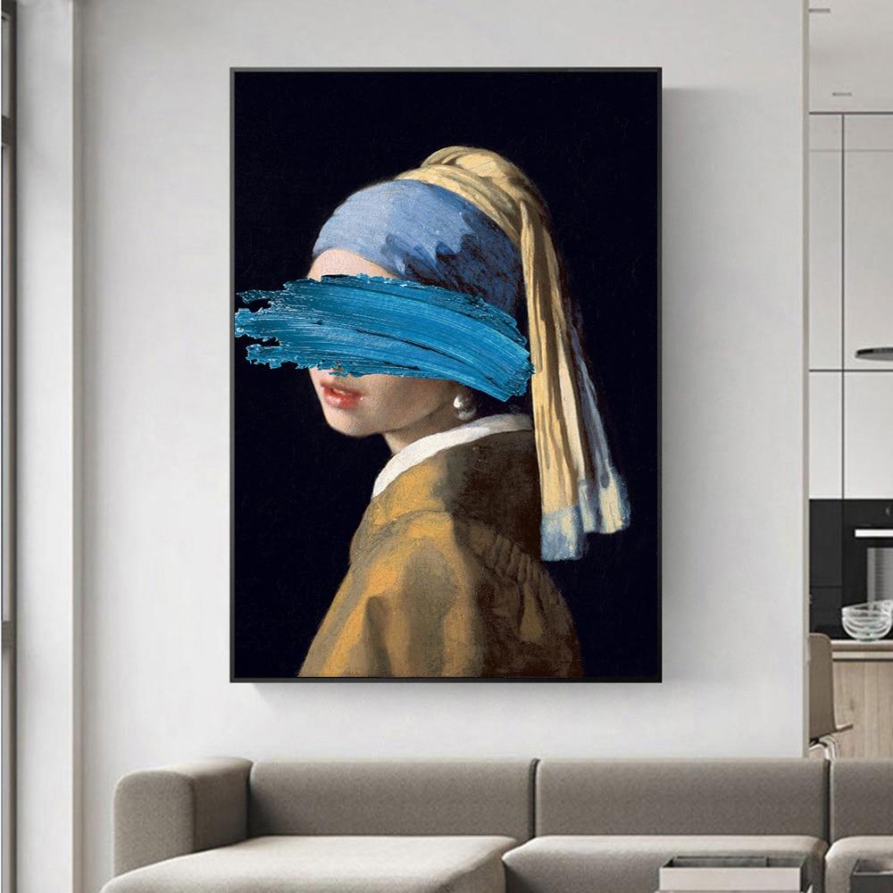 A menina com uma pérola brinco pinturas em tela reproduções famosas obras de arte por jon pop arte imprime fotos de parede para decoração de casa