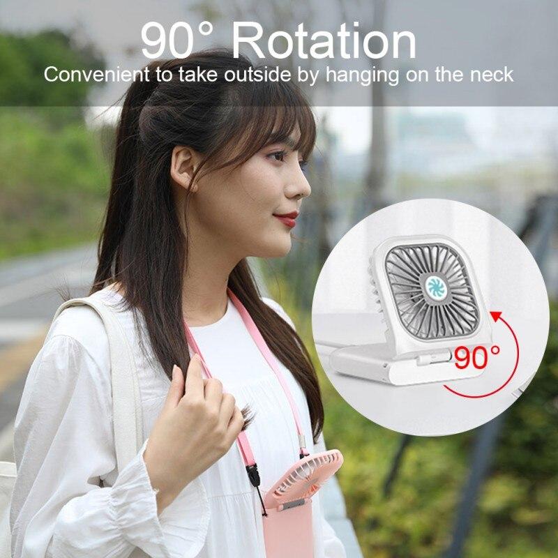 Mini Portable USB Cooling Folding Fan 3 Setting Neck Hanging Fan 90 Degree Rotating Fan Battery Recharge