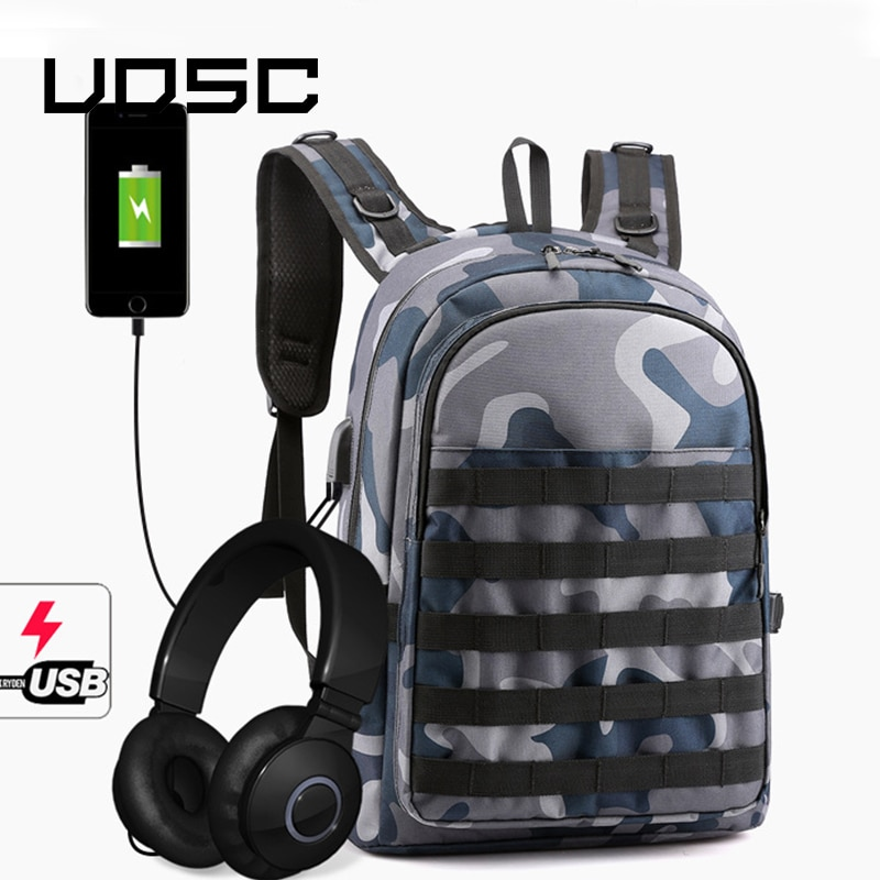 UOSC Blue Camouflage  Laptop Backpack Anti-thief USB Charging Back Bags For Women Men High School Bag