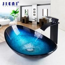 JIENI Tempered Glass Hand Painted Waterfall Spout Basin Black Tap Bathroom Sink Washbasin Bath Brass Set Faucet Mixer Taps Blue