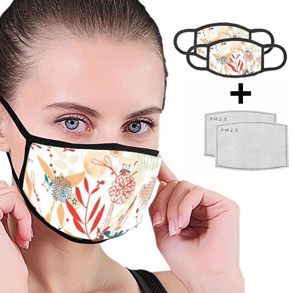 Fashion Floral Face Scarf With Print Kpop Korean Style 2 Face Scarf With 2 Filters Fashion Washable Scarf Reusable Bandana
