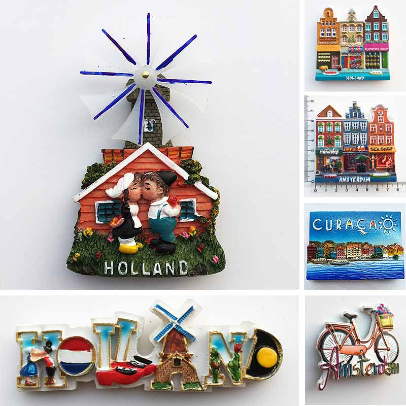 Netherlands Curacao Fridge Magnets Tourist Souvenirs Holland Windmill Amsterdam Magnetic Refrigerator Stickers Home Decor Gifts dubai tourist souvenirs fridge magnets khalifa tower saudi arabia refrigerator commemorative magnet stickers home decoration