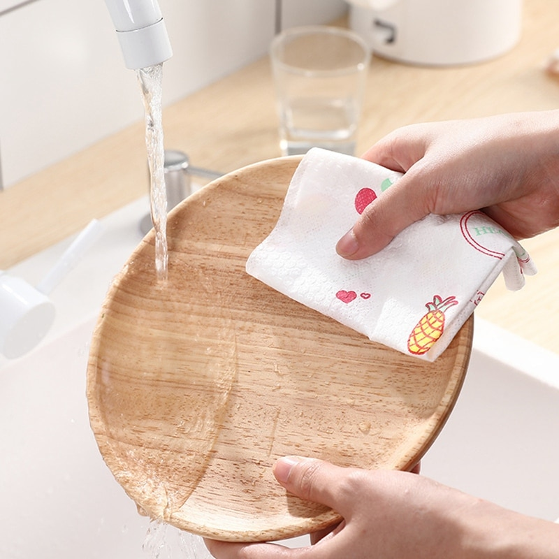 1Roll Non-Woven Fabric Wiping Cleaning Cloth Towels Kitchen Towel Disposable Striped Practical Rags Souring Pad Household rag enlarge