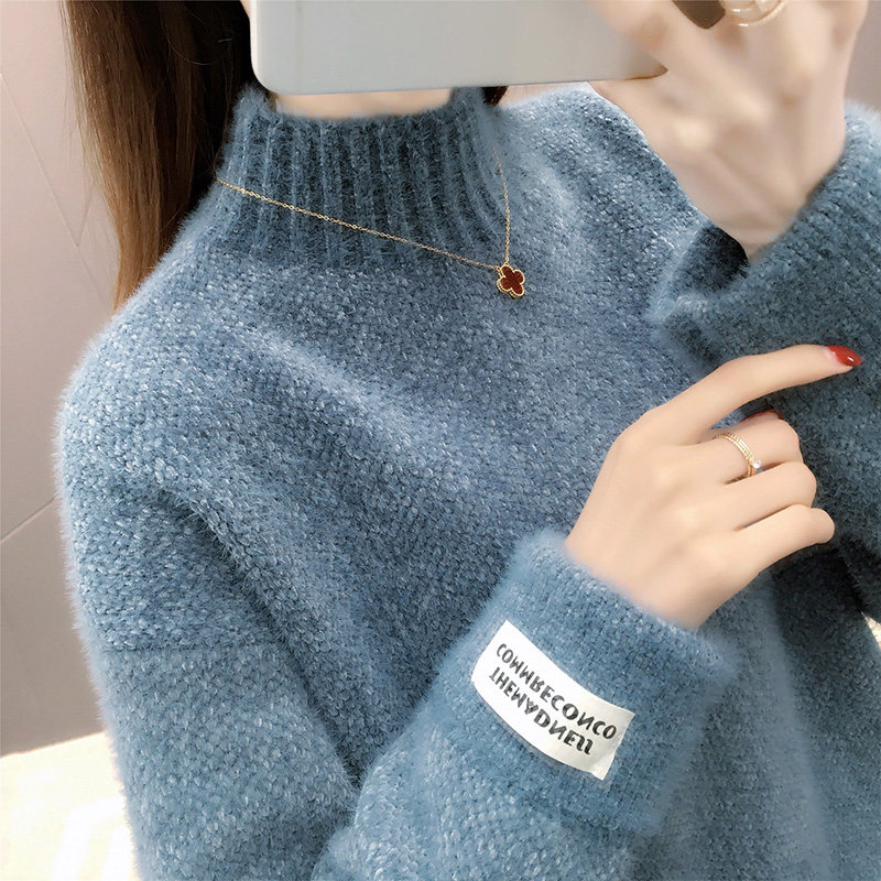 Women's Turtleneck Sweater Pullover 2019 Autumn and Winter Loose Korean Short Thickened All-Matching