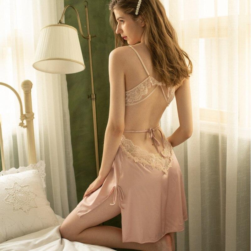 Фото - Сексуальная женская ночная сорочка, шелковая ночная сорочка, женское чувственное нижнее белье, ночная сорочка с открытой спиной, домашняя Н... сорочка женская iv30248