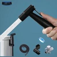 Kit de pulverisateur de Bidet de toilette noir  Shattaf a main en acier inoxydable  pour salle de bains  nettoyage personnel  robinet de Bidet