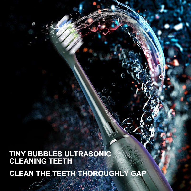 Electric toothbrush Ergonomic ultrasonic deep cleaning metal body rechargeable adult toothbrush Inductive charging enlarge