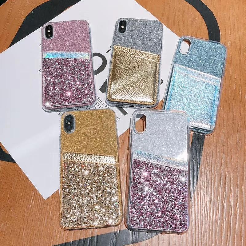 11Pro DIY brillo poner tarjeta Blingbling para iPhone 11 Pro MAX 7 8 Plus 6 6s Plus XSMAX XR XS TPU caja del teléfono claro
