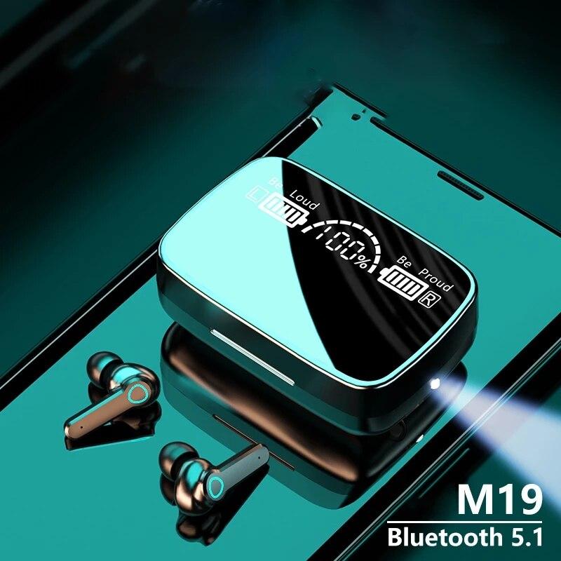 M19 tws-smartphone com bluetooth, compatível com fones de ouvido, esporte com cancelamento de ruído, mini fones de ouvido, tela de led