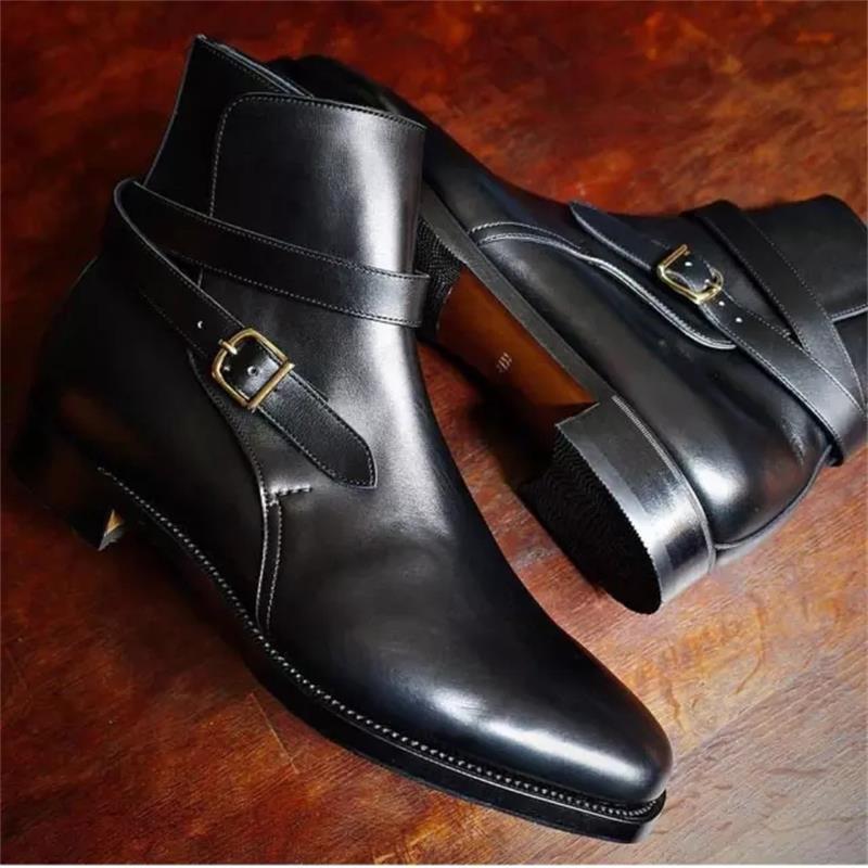 الرجال أحذية فساتين راقية اليدوية الأسود بولي Classic حزام كلاسيكي قابل للتعديل مشبك منخفضة الكعب الأعمال عادية كل مباراة حذاء من الجلد 3KC513