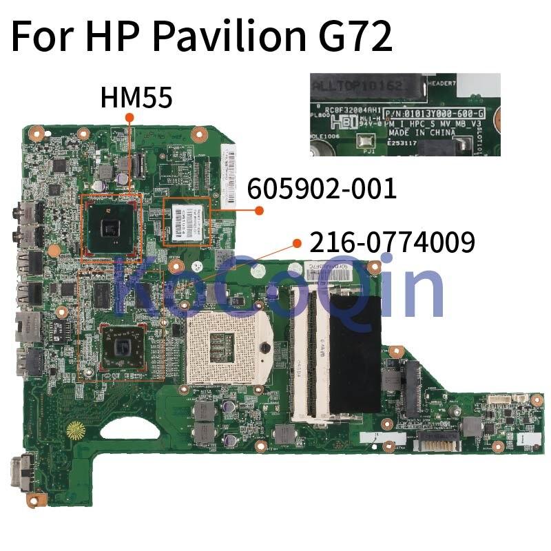 ل HP جناح G72 اللوحة المحمول 605902-001 605902-501 01013Y000-575-G HM55 216-0774009 DDR3 اللوحة