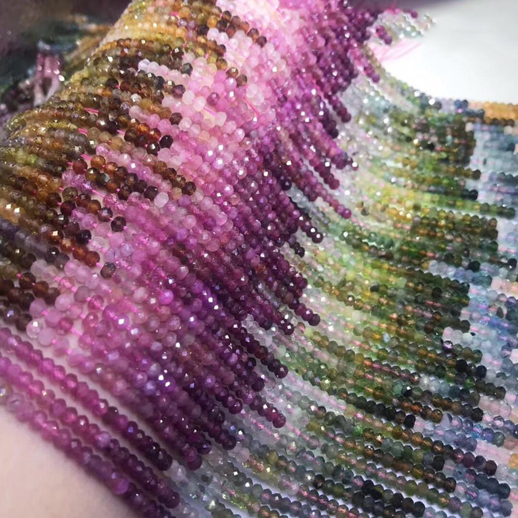 ICNWAY Tourmaline 2x3mm perles de pierres précieuses naturelles à facettes rond pour argent 925 bijoux collier boucle doreille Bracelet 15 pouces