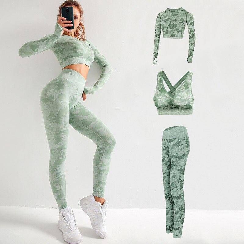 Yoga camuflaje de tres piezas ropa deportiva para correr para mujeres gimnasio fitness yoga leggings y Sujetador deportivo de manga larga ropa deportiva de gimnasio para mujeres