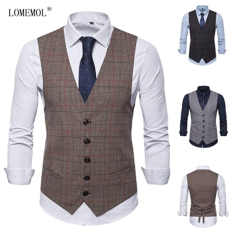 Новый мужской жилет LOMEMOL, повседневный деловой мужской жилет, мужской жилет в клетку, мужской костюм без рукавов, умный Повседневный Топ