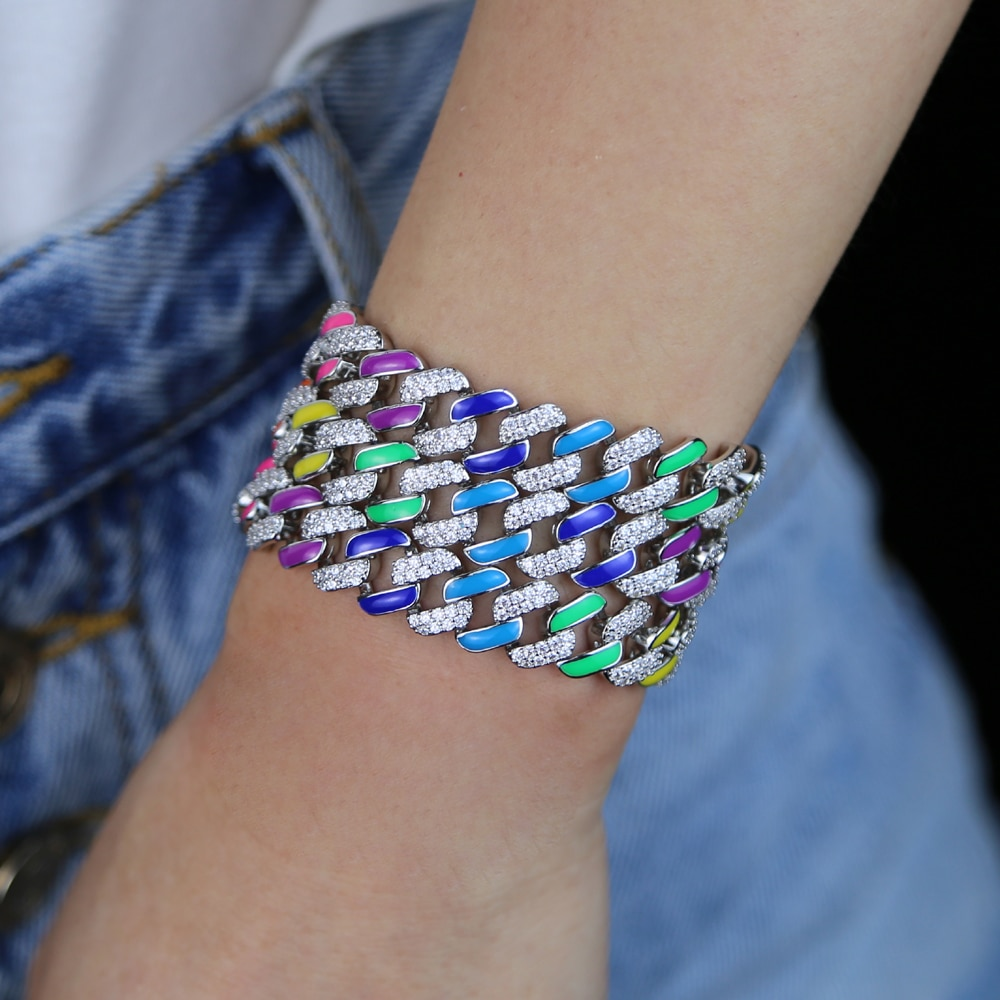 Bling cz pavimentado cubano pulsera de cadena para las mujeres helado pulseras de cadena de eslabones de moda de cristal de lujo pulsera de esmalte de regalo de la joyería