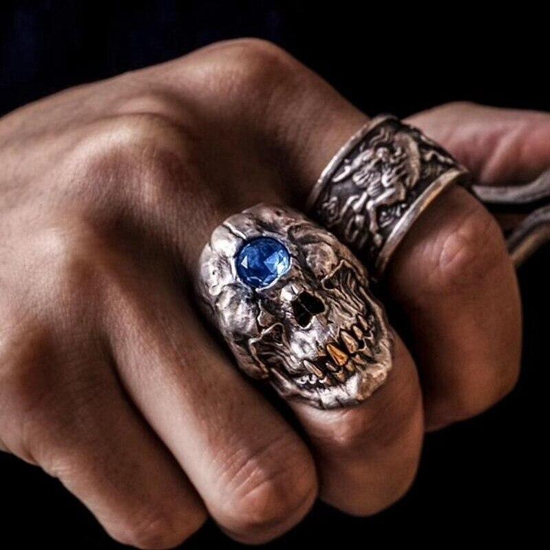 Anillo gótico Punk Cyclops calavera azul verde rojo ojos de cristal calavera anillo encanto CZ anillo joyas de motorista regalo hombres joyería de moda