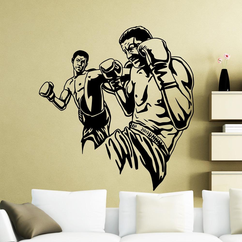 Lutadores mma pontapé alto adesivo de parede luta extrema esporte boxer vinil decalque da parede do quarto casa decoração interior mural à prova dxágua x645