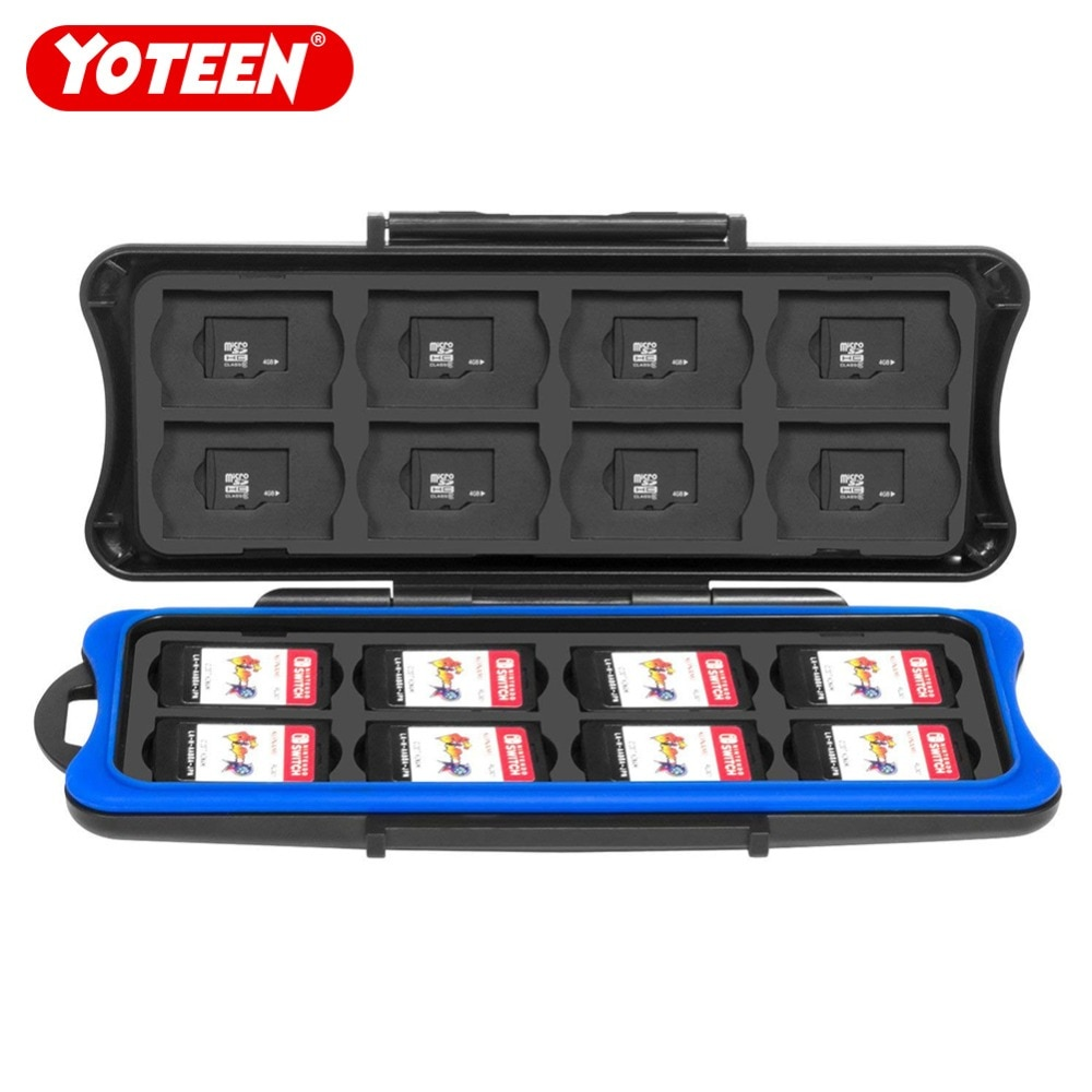 Game Card Box For Nintendo Switch Waterproof Anti-Shock Card Storage Box 16 Game Card Slots & 16 Micro SD TF Card Holders