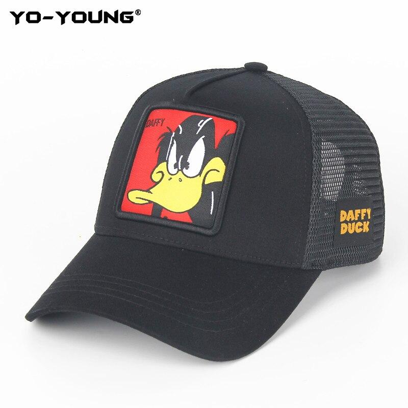 Yo-Young Anime Cartoon Baseball Caps Unisex Mesh Caps Trucker Hats Snapback Baseball Caps Kids For Adult Adjustable 53-59 cm