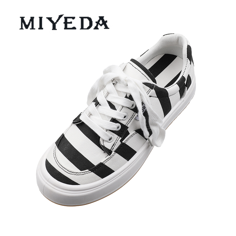 MIYEDA Casual Shoes Women Shallow Concise Lace-Up Zebra Slip-On Breathable Female Flats Lace-Up Travel Woman's Canvas