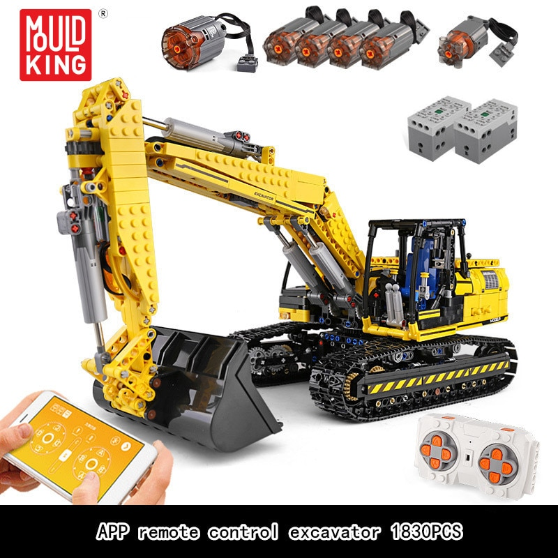MOULD KING 13112 1830Ppcs Motorized High-Tech Excavator Remote Control Truck Model Building Blocks R