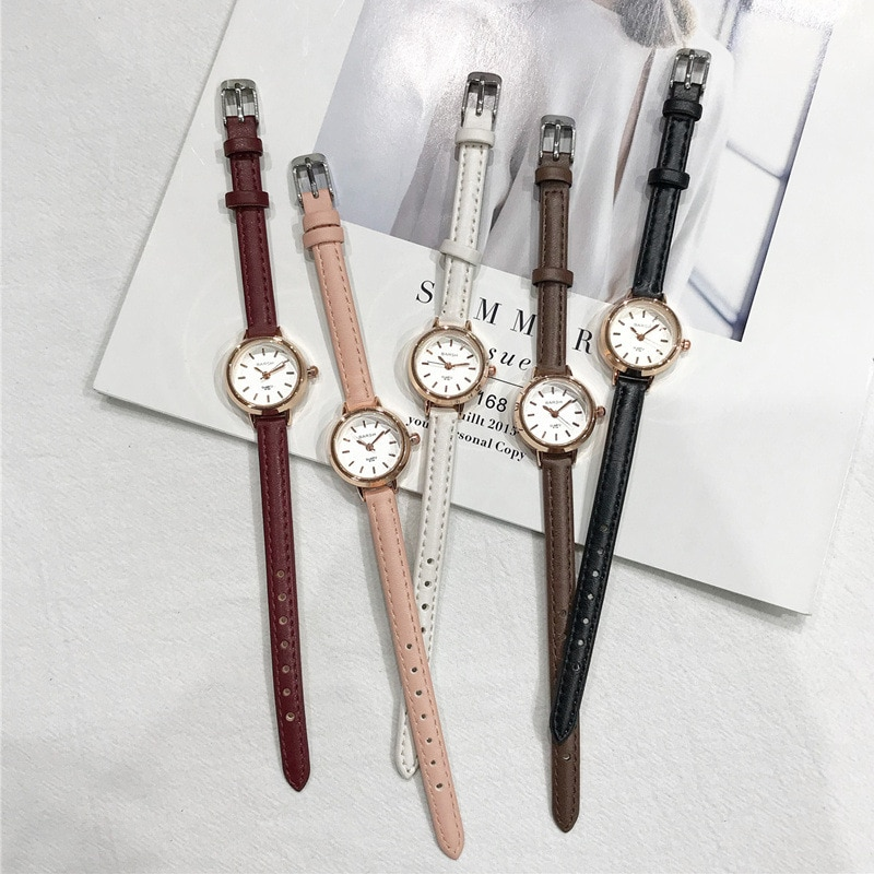 Фото - Women's Fashion Small Watches Vintage Leather Elegant Ladies Quartz Wristwatches Simple Female Watch Casual Retro Woman Clock woman quartz analog hollow musical note style leather fashion ladies casual watch female
