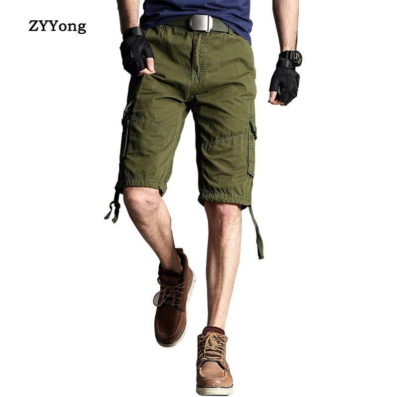 2020 летние мужские прямые мульти карманные военные мужские шорты Карго из хлопка хаки черные мужские тактические шорты короткие штаны