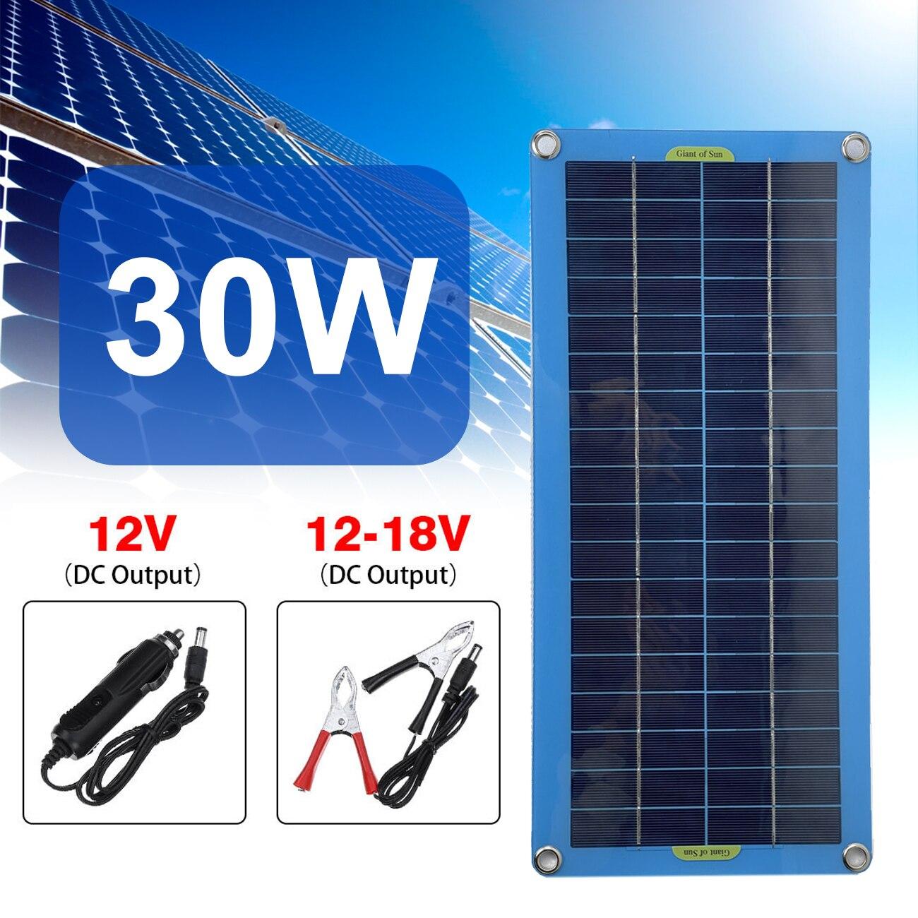 لوحة طاقة شمسية 30 واط 12 فولت USB الناتج الخلايا الشمسية لوح شمسي رخيص لوحة طاقة شمسية تحكم مقاوم للماء الخلايا الشمسية للسيارة يخت بطارية قارب ...
