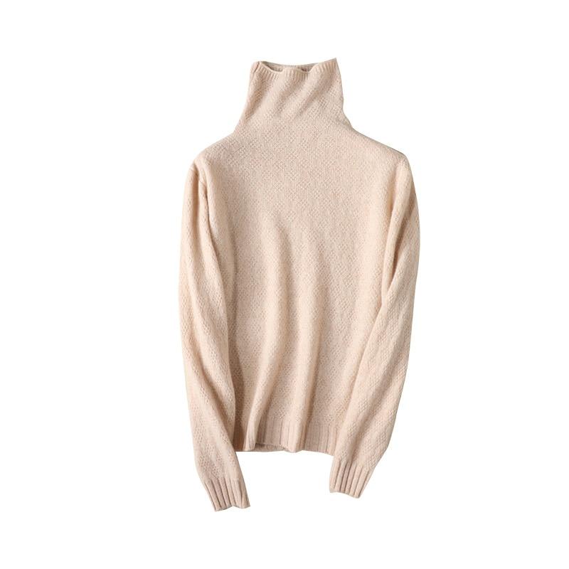 Suéter de cachemira para mujer de Color liso cuello alto tejido con una camisa de fondo Jersey Unif nuevo estilo ropa de invierno 2020