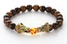 8mm xcf3 Bangles yellow Tigereye bead double Dragon Buddha Prayer Yoga Bracelet  women men nature stone Party Jewelry